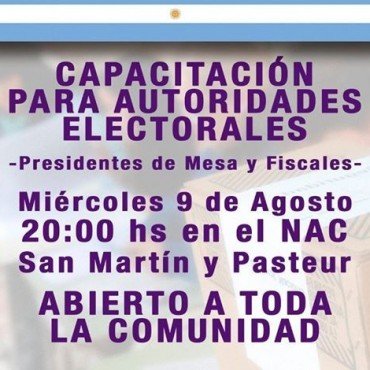 ESTE MIÉRCOLES CAPACITACIÓN PARA AUTORIDADES ELECTORALES