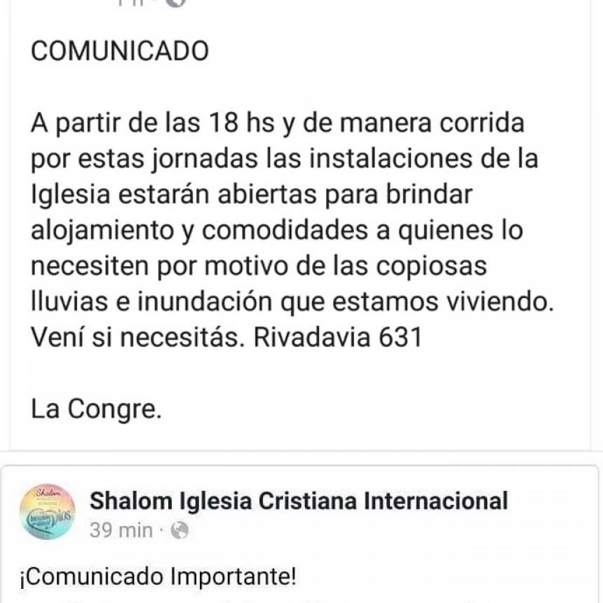 IGLESIAS EVANGÉLICAS ABREN SUS PUERTAS PARA RECIBIR A PERSONAS EVACUADAS