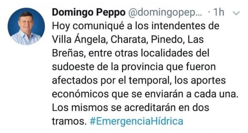 EN UN TWEETS EL GOBERNADOR ANUNCIO EL APORTE DE $ 1.000.000 POR LA EMERGENCIA HÍDRICA