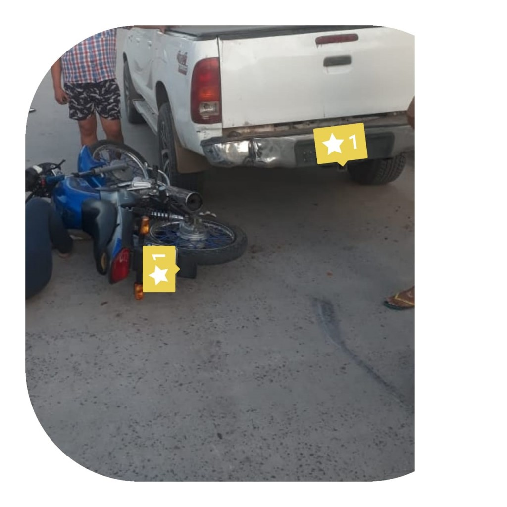 GRAVE SINIESTRO VIAL ENTRE UNA CAMIONETA Y UNA MOTOCICLETA