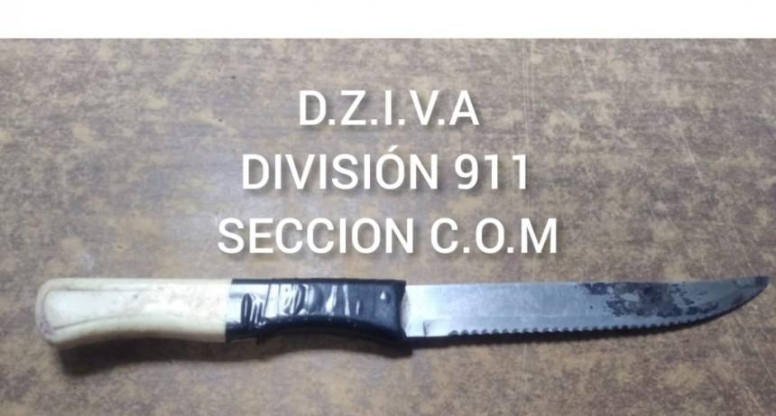 PERSONAL DEL 911 APREHENDIÓ A UN MENOR DE 14 AÑOS QUE PORTABA UN ARMA BLANCA
