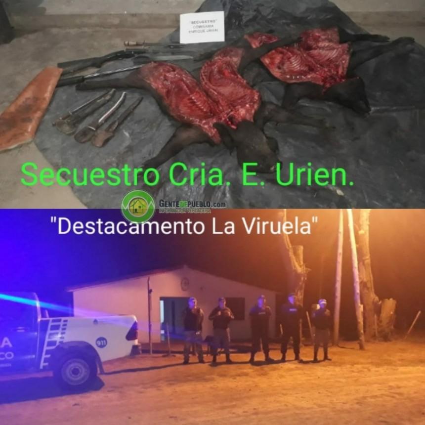 LLEVABAN ANIMALES FAENADOS DE DUDOSA PROCEDENCIA Y TERMINARON DETENIDOS