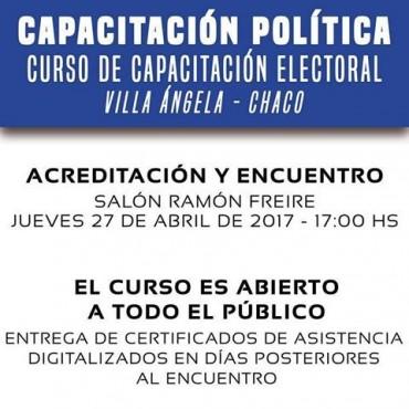 ESTE JUEVES CAPACITACIÓN POLÍTICA EN EL SALÓN RAMÓN FREYRE DE LA MUNICIPALIDAD