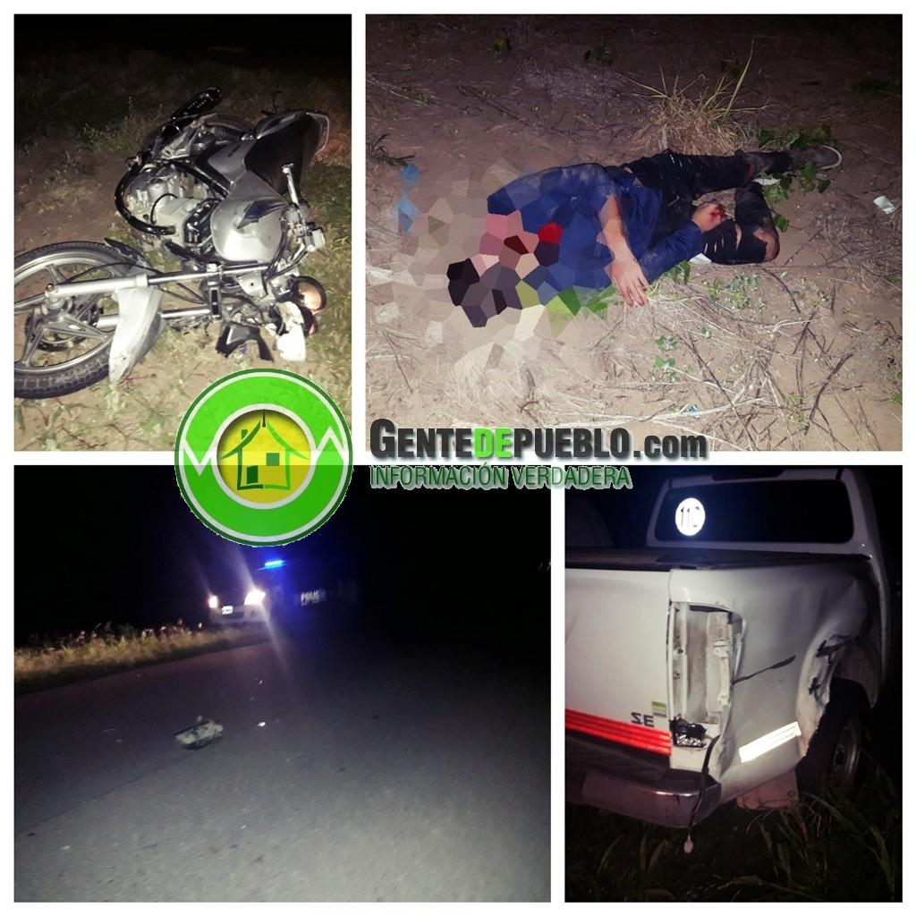 MOTOCICLISTA DE 15 AÑOS CIRCULABA POR EL CARRIL CONTRARIO EN RUTA 95 Y FUE EMBESTIDO POR UNA CAMIONETA