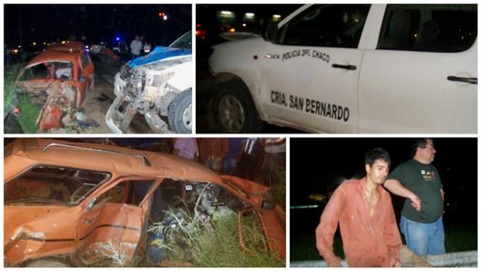UN AUTO TERMINÓ PARTIDO EN DOS TRAS SER CHOCADO POR UNA CAMIONETA POLICIAL DE SAN BERNARDO