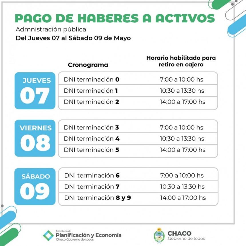 COMIENZA EL CRONOGRAMA DE PAGO ESCALONADO PARA ACTIVOS DE LA ADMINISTRACIÓN PÚBLICA PROVINCIAL
