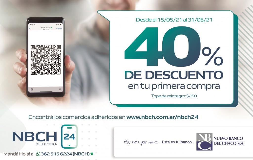 CON NBCH24 BILLETERA, PAGAR CON QR TIENE 40% DE DESCUENTO