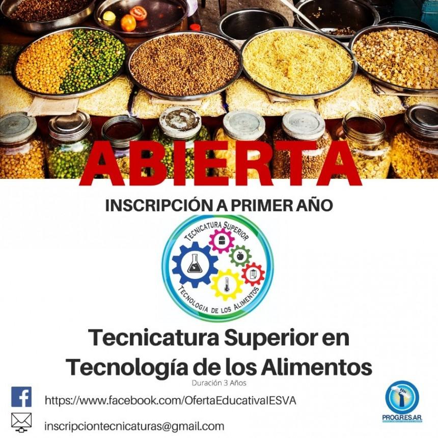 INSCRIPCIÓN ONLINE PARA LA TECNICATURA SUPERIOR TECNOLOGÍA DE LOS ALIMENTOS
