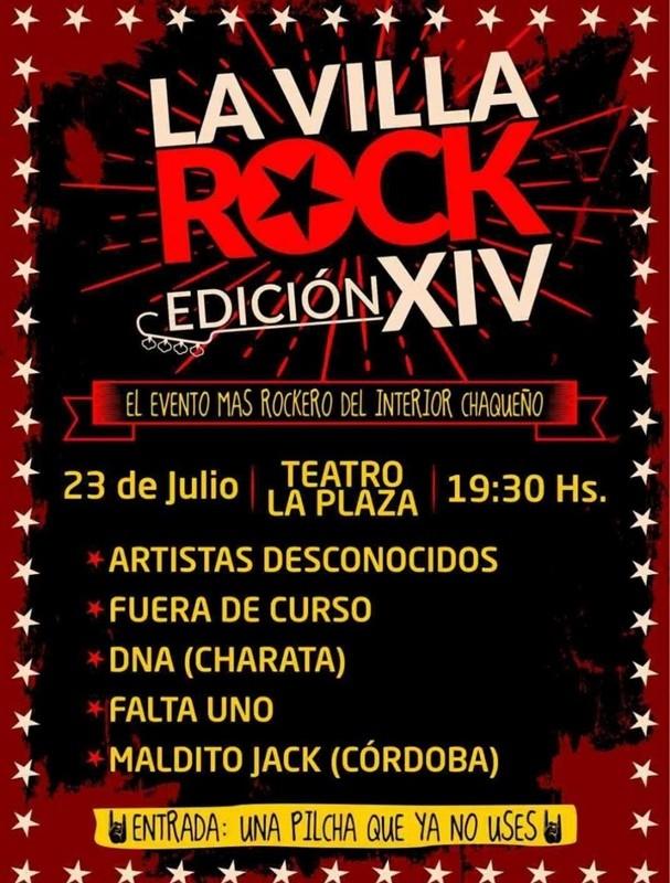 ESTE DOMINGO 23 DE JULIO 14 EDICIÓN DE LA VILLA ROCK