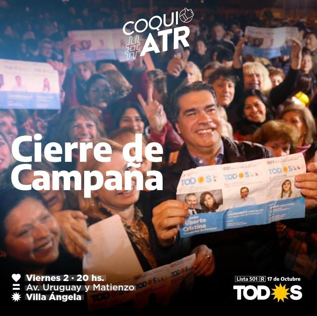 """""""COQUI"""" CAPITANICH CIERRA SU CAMPAÑA EL PRÓXIMO VIERNES EN VILLA ANGELA"""