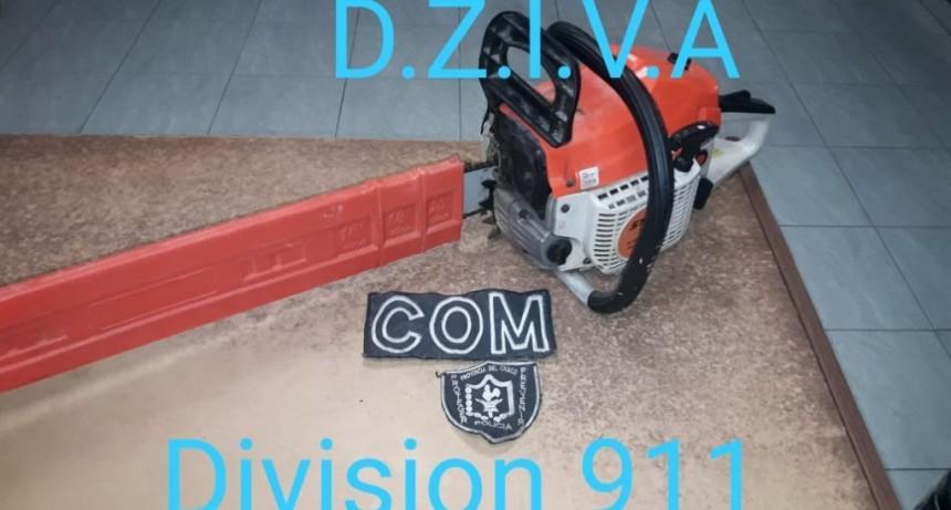 PERSONAL DE LA DIVISION 911 SECCION COM LOGRAN RECUPERAR UNA MOTOSIERRA
