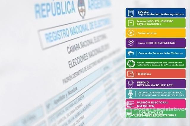 Se podrá consultar el Padrón Definitivo desde la web de la Legislatura