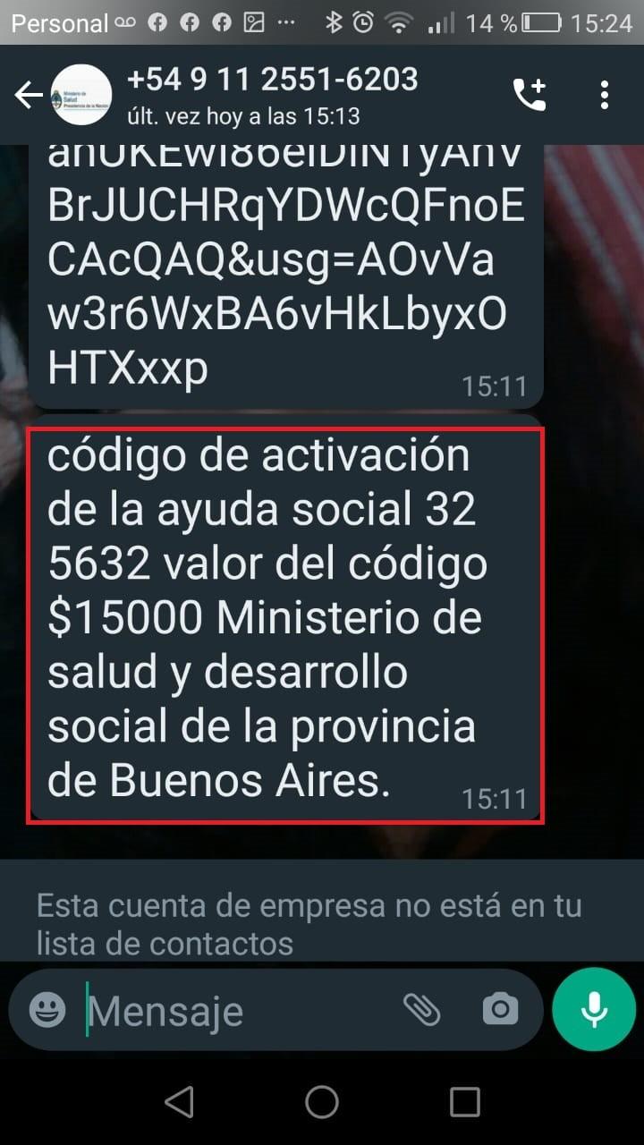 ESTAFA CON UNA SUPUESTA AYUDA SANITARIA DE $15.000