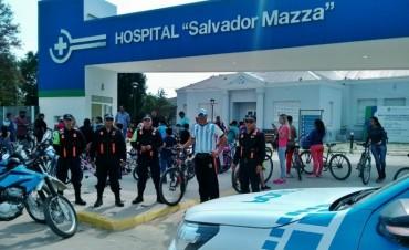 POLICIA CAMINERA Y PERSONAL DEL 911 ACOMPAÑO ESTA BICICLETEADA SOLIDARIA