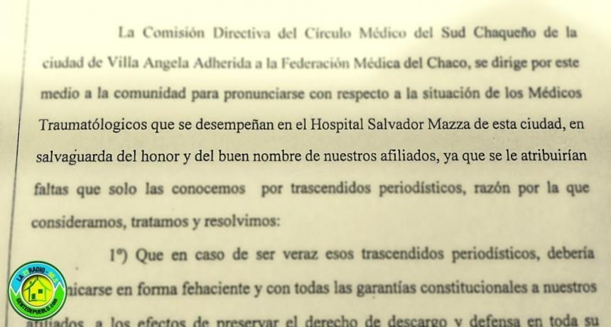 DESDE EL CIRCULO MEDICO QUIEREN SALVAGUARDAR EL HONOR Y BUEN NOMBRE DE LOS TRAUMATOLOGOS