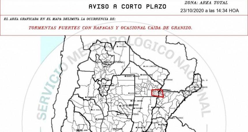 AVISO A CORTO PLAZO POR TORMENTAS FUERTES EN EL ESTE DEL CHACO
